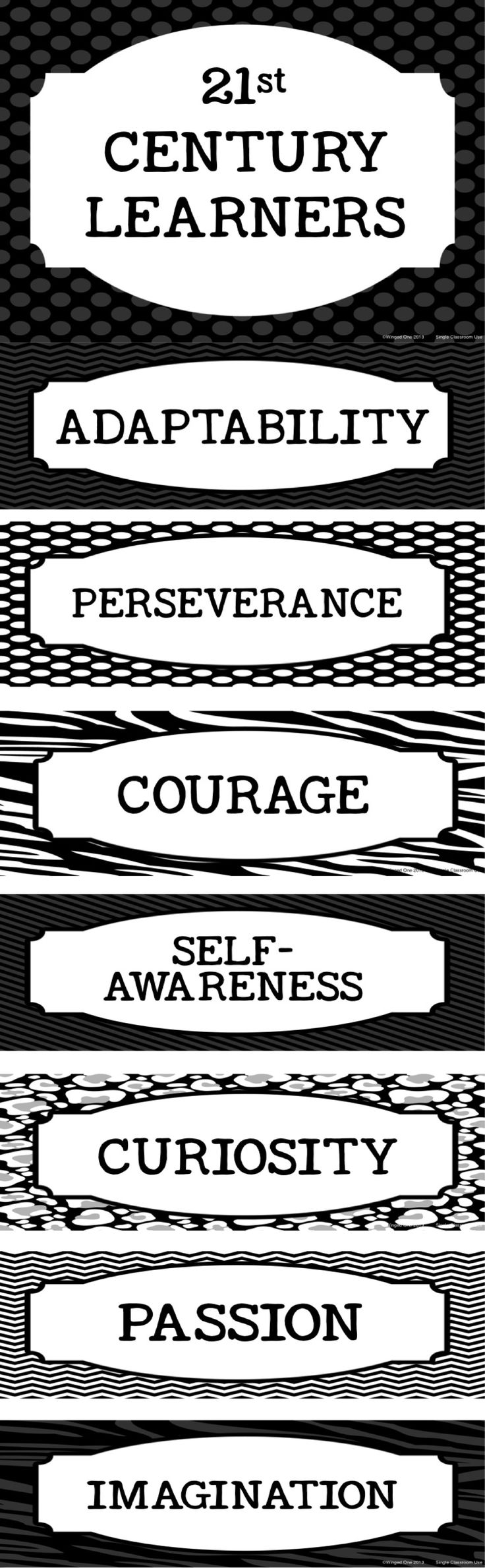 Characteristics of 21st Century Learners Posters: Black and White Set (also available in a color set) - Adaptability, Perseverance, Courage, Self-Awareness, Curiosity, Passion, Imagination $