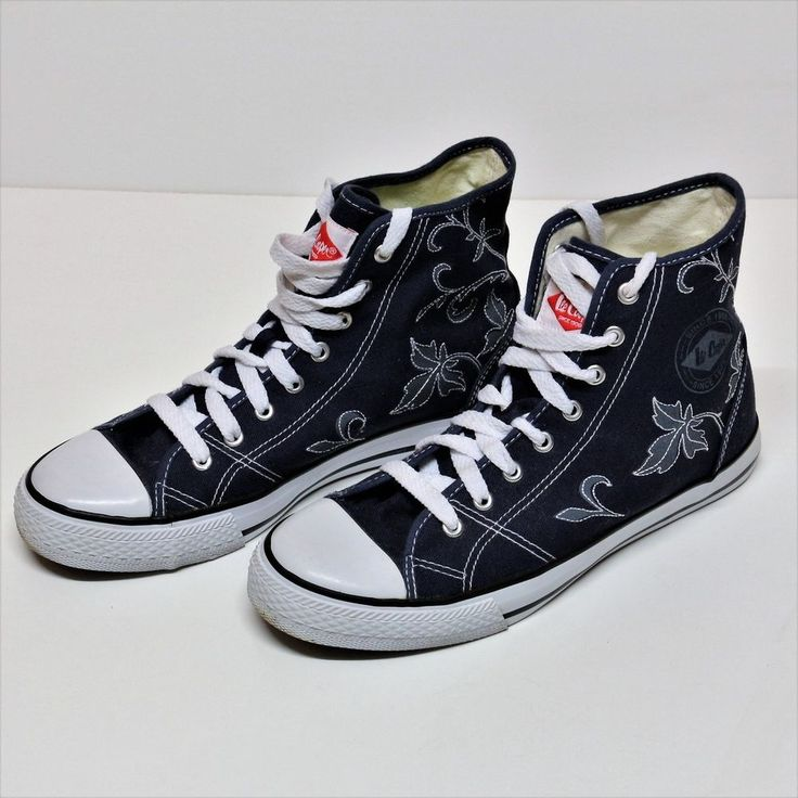 WOMENS LADIES LEE COOPER HIGH TOPS DETAILED PATTERN TRAINERS BOOTS LACE UPS BLUE   eBay