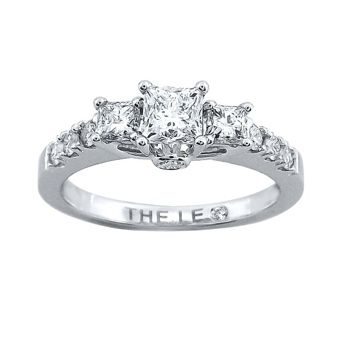 Brides.com: Three-Stone Engagement Rings. Style 990876005, diamond engagement ring 7/8 ct tw princess-cut 14k white gold, $3,999.99, Kay Jewelers                                                                                                               See more Kay Jewelers engagement rings.