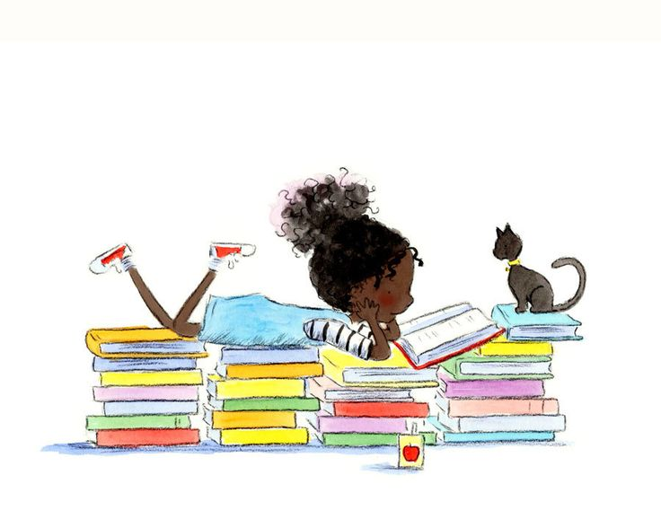 Black Girl Reading with Cat READING STORIES by PeriwinkleAndHazel