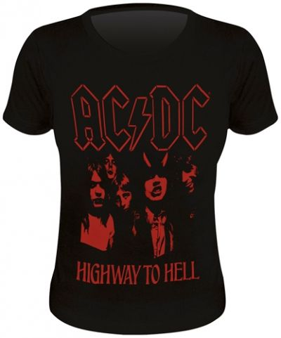 Tee Shirt Femme AC/DC - Highway To Hell Red - http://rockagogo.com