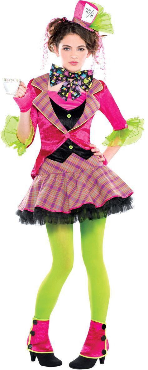 Mad hatter party city tween teen girl costume hat poofy cute costumes Halloween