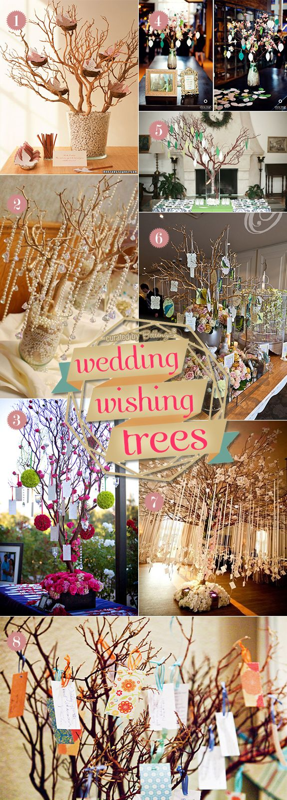 Wedding wish tree ideas from using real trees to tabletop varieties to faux branches in vases (see full post at the Bellenza Wedding Bistro) #weddingwishtrees #treedecorations #diyweddingtrees