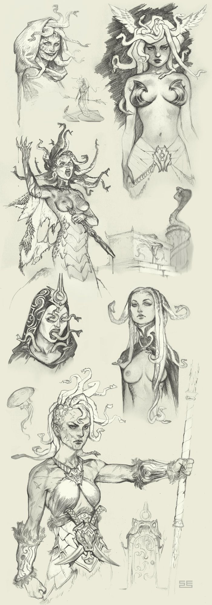 Medusa sketches by Scebiqu.deviantart.com on @DeviantArt