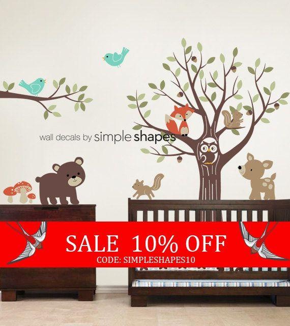 Zomer verkoop boom met Forest vrienden Decal Set Kid's