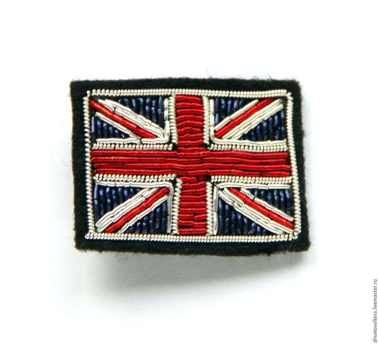 """Купить Значок """"Английский флаг"""" ручная вышивка . - разноцветный, брошь купить, брошь для девушки"""