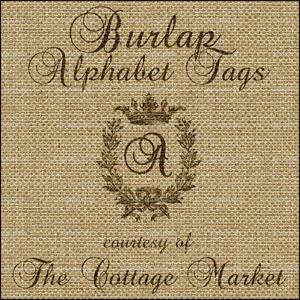 Burlap alphabet tags free a complete set free printable - Alphabet complet ...