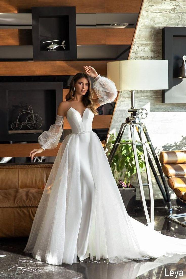 Satin Wedding Dress Mermaid Wedding Dress Detachable Sleeves ...
