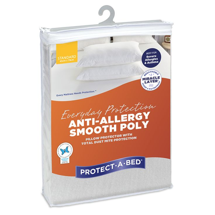 Approved by the National Asthma Council, the Anti-Allergy Smooth Poly Pillow Protector, from Protect-A-Bed®, has a smooth polyestersurface. It is best for severe asthma and allergies, due to the anti-allergy flap, which creates a barrier against dust mites and bed bugs. Helpsagainst accidental spills and perspiration. It is completely waterproof, thanks to the silent and breathable Miracle Layer™. It is machine washable and tumble dry-friendly. This product has been tested for harmful…