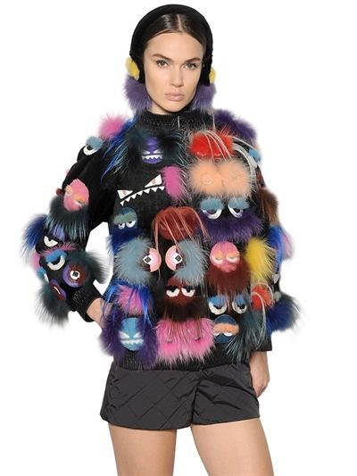FENDI Monsters Patchwork Fur Jacket, Multi. #fendi #cloth #fur & shearling