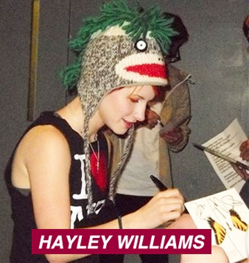 ★ Hayley Nichole Williams is an American singer and songwriter. She is the lead vocalist of the American rock band Paramore. Haley Williams here is seen signing autographs wearing a Knitwits by deLux 'Mohawk' Sock Monkey Hat.