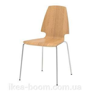 """IKEA """"ВИЛЬМАР"""" Стул, дубовый шпон, хромированный - фото"""