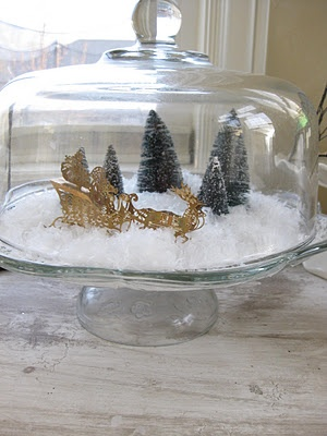 Fun idea for snowy cake stand scene