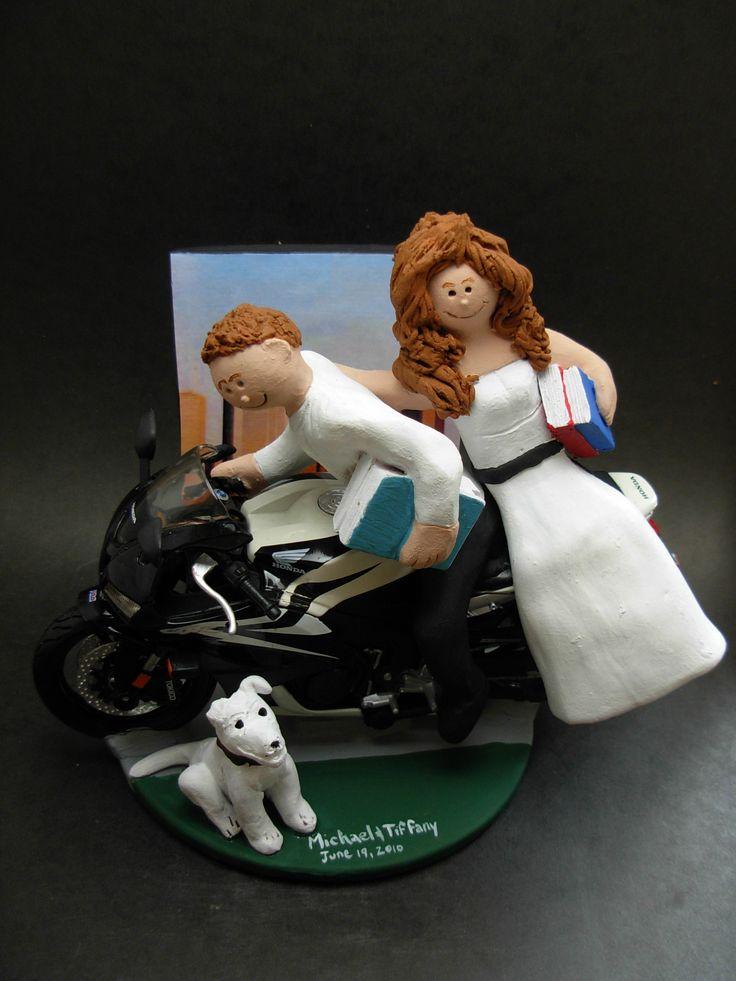 Suzuki Motorcycle Wedding Cake Toppers