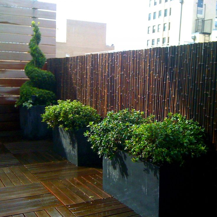Black Bamboo Fencing Hides An Ugly Metal Fence On A Rooftop Garden