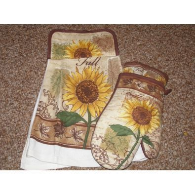 In the Kitchen :: Fall Sunflower Themed Kitchen Towel Gift Set