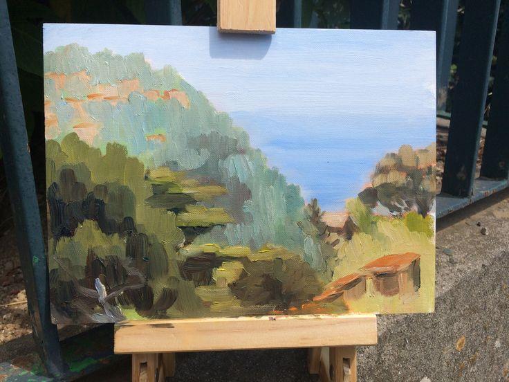 Ciao bella🇮🇹pittura plein air piccolo viewing Ravello from Commune D'Scala on the Amalfi Coast.