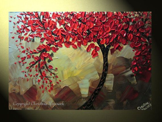 """Original Abstract Tree Painting, Textured Red Tree of Life, Abstract Floral Painting, Red Maple, Blue Brown, Palette Knife 36x24"""" Christine. $350.00, via Etsy."""