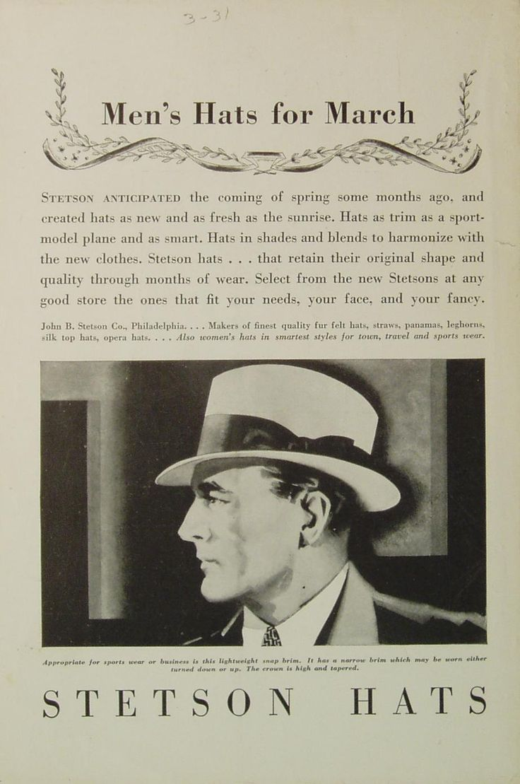 1931 - MEN's HATS for March