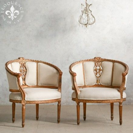Lovely Pair of Vintage Louis XV Club Banquettes in Deep Distressed Gold Finish $2,855.00 #thebellacottage #shabbychic #eloquence