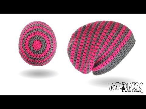 Einfache Long Beanie häkeln - Simple Long Beanie - Farbwechsel - Rundenabschluss v2.0 - gerade Naht - YouTube