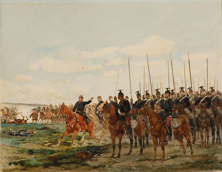 EDOUARD JEAN BAPTISTE DETAILLE French (1848-1912) Battle scene. Signed and dated…
