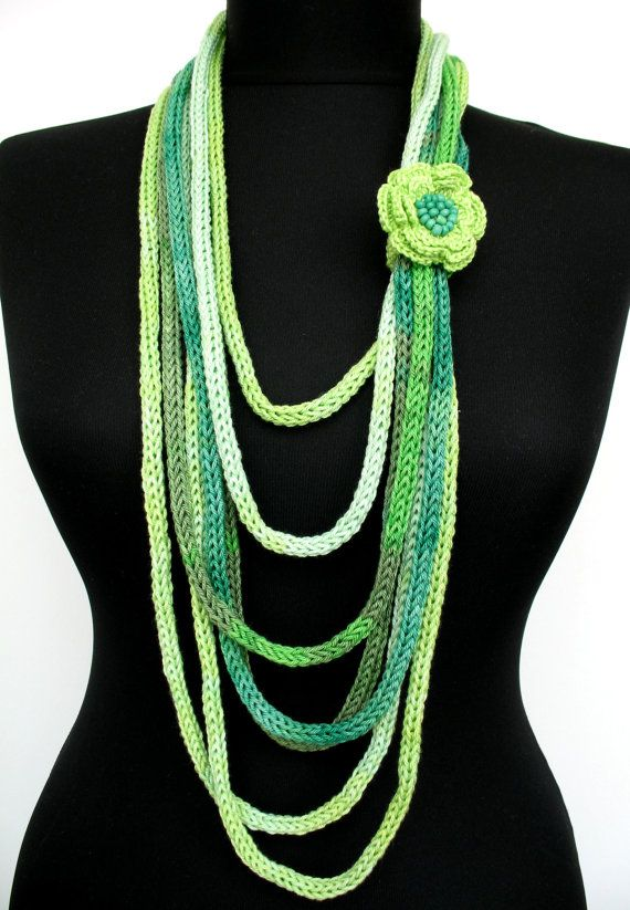 knit jewelry inspiration - METALIC threads - won't that be cool.