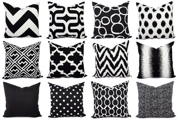 Black Couch Pillow Covers One Black and by CastawayCoveDecor