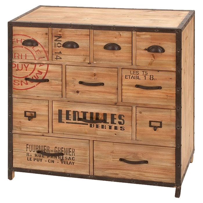 Twelve Drawer Wood And Metal Chest With Stamp And Text Detail. Product:  ChestConstruction Material: Metal Alloy And WoodColor: NaturalFeatures:  Sturdy And ...