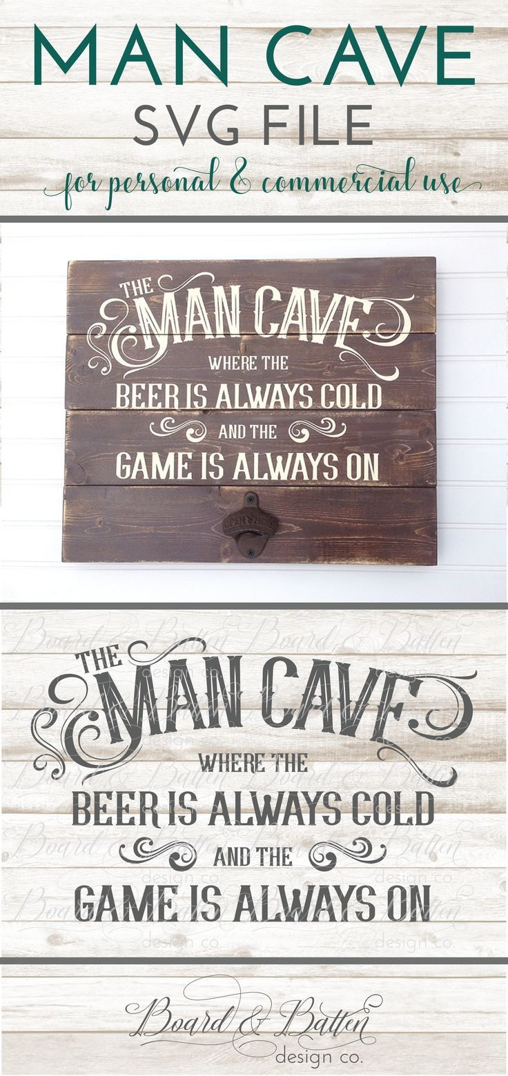 The Man Cave SVG File is perfect for special man cave projects using your Silhouette or Cricut vinyl cutter. It's got a great vintage style and feel, and will complement any man cave decor. This file is for personal or commercial use.