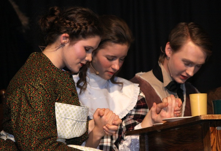 Alexandrea Wagner-Powers as Mrs Cratchit, Britney Alexander as Martha and Tanner Kooistra as Peter — at Briercrest College and Seminary.