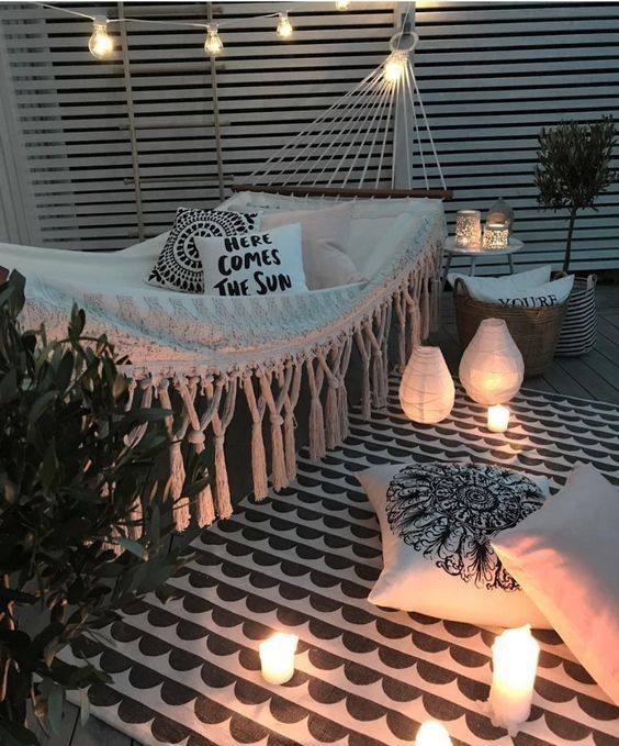 Outdoor living, outdoor style, hammock, porch, outdoor lights, lanterns, rope lights, deck, rustic, modern, home decor, diy decor, diy home decor, apartment living, rooftop, outdoors, rug, lights, here comes the sun pillow, cozy, hangout, outdoor entertainment #afflink