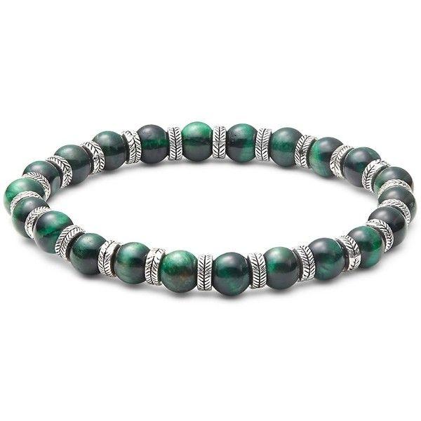 PerePaix Men's Elastic Beaded Bracelet ($49) ❤ liked on Polyvore featuring men's fashion, men's jewelry, men's bracelets, no color, mens watches jewelry, mens beaded bracelets, mens cord bracelets, mens bracelets and mens engraved bracelets