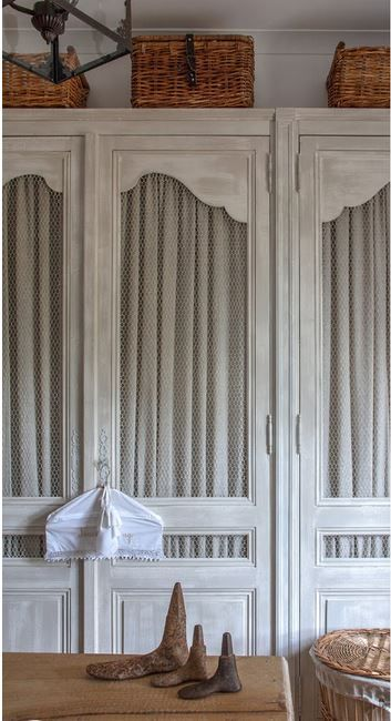 Fabulous French Dressing Room.  Really like this type of door for the cabinet; inserts could be glass, slats or fabric.