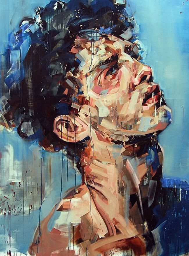 """A Shapeless Doubt"" - Andrew Salgado, UK {contemporary figurative #expressionist art abstract male head #impasto brush abstraction man face texture grunge oil painting}"