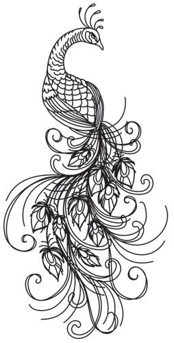 Tiny swirls and detailed stitches give this bold peacock an inked look. Perfect for denim, totes, home decor and more! Downloads as a PDF. Use pattern transfer paper to trace design for hand-stitching.