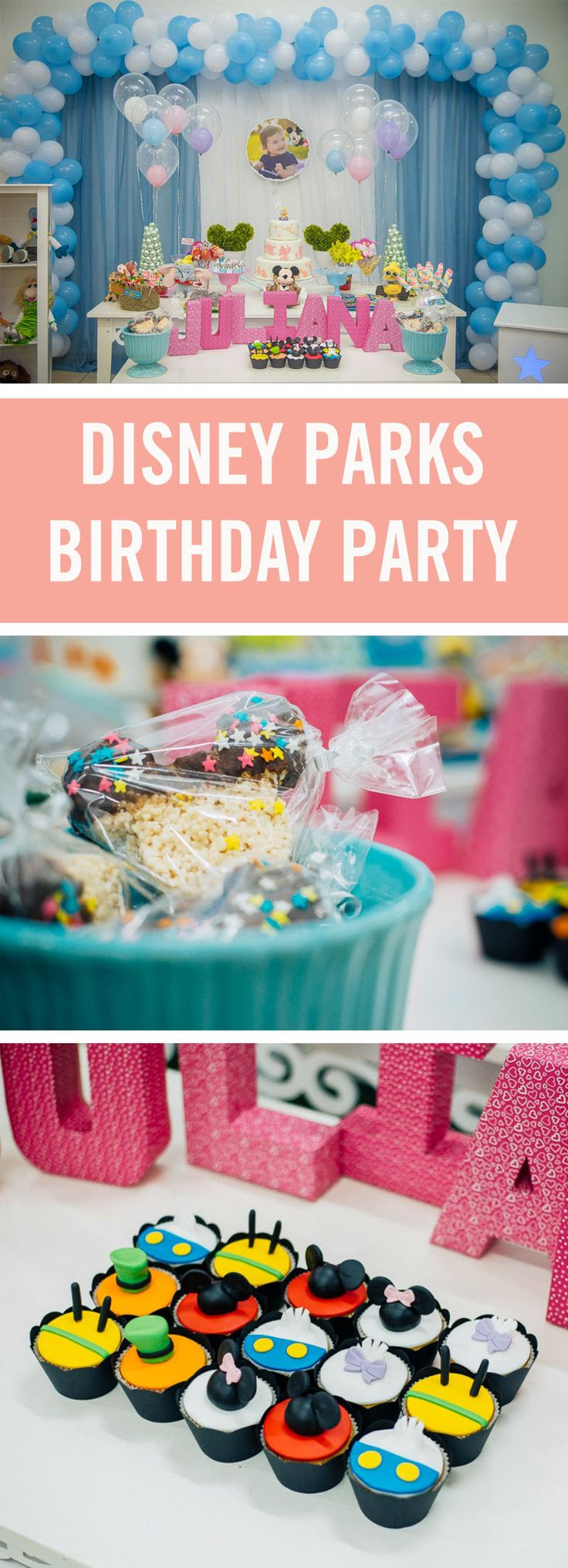 Can't figure out how to integrate all of your favorite Disney themes into one incredible kids birthday party? Why not throw a DIY Disney Parks party? From Mickey to Muppets, this party has it all.