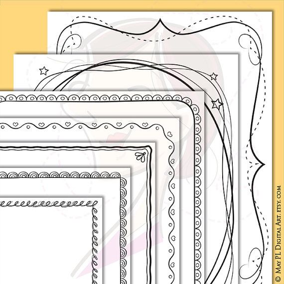 Page Border Whimsical Doodle Cute Frames by MayPLDigitalArt