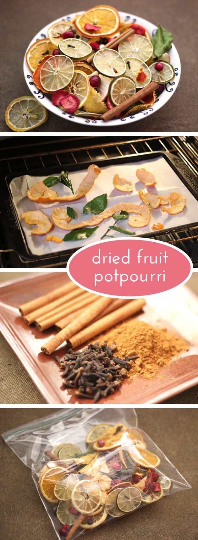 Dried fruit potpourri imparts a zest that fills your home with a crisp, fresh scent perfect for spring! Here's how to best dry your fruit: www.ehow.com/...