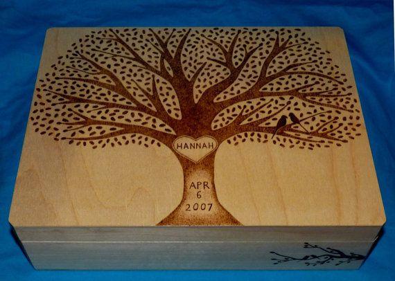 Decorative Wooden Baby Keepsake Box Wood by EssenceOfTheSouth