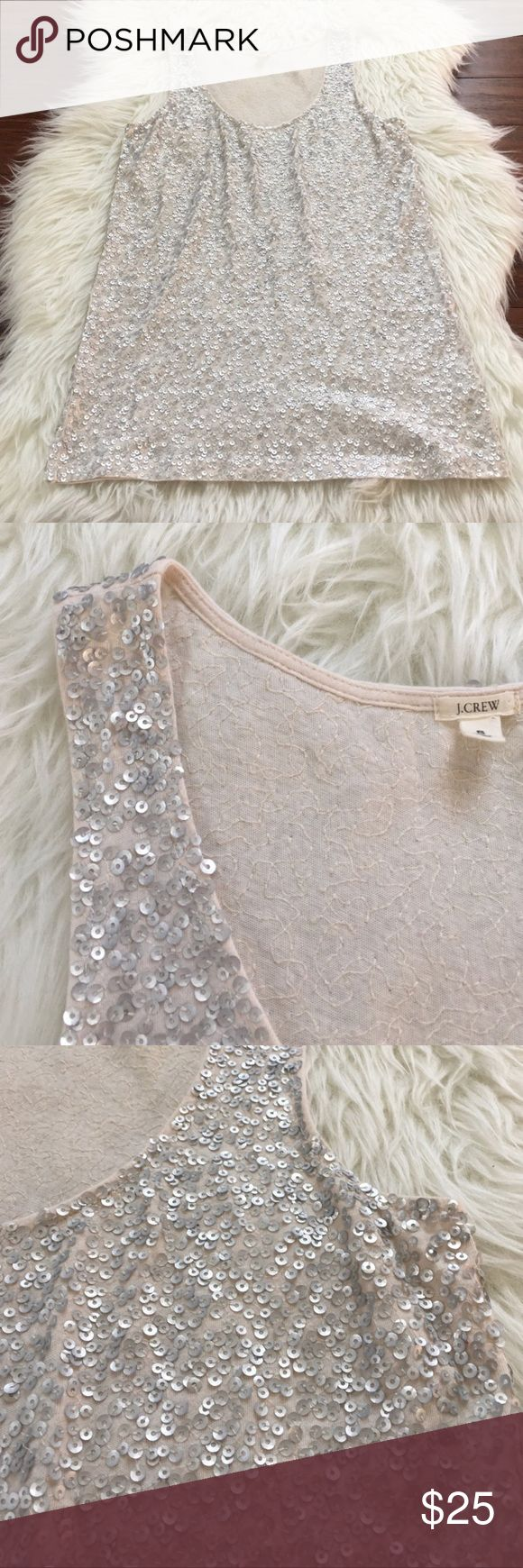 J.Crew Cream Sequin Tank Top Blouse In excellent used condition. No flaws. All sequins are intact. Beautiful piece on its own or layered under a blazer or cardigan! J. Crew Tops Tank Tops