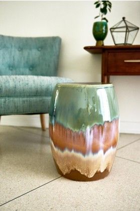 Earthy Glaze Ceramic Stool in room                                                                                                                                                                                 More