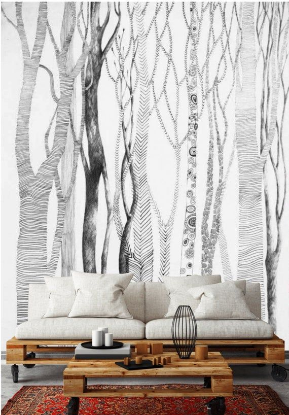 Birch Tree Peel And Stick Wallpaper Mural Removable Forest Wall Paper Black And White Wall Mural Trees Accent Wall Temporary Wall Paper Peel And Stick Wallpaper Removable Wall Murals Birch Tree
