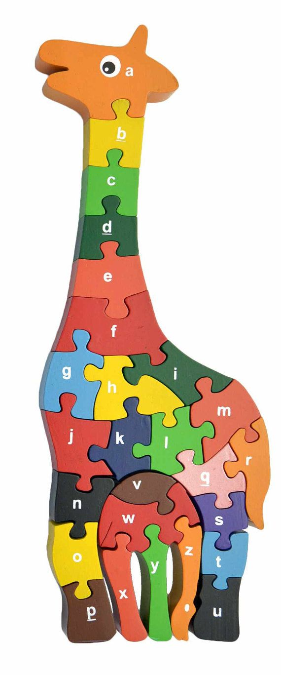 Eco-friendly Giraffe Alphabet Puzzle hand-crafted by RedFishToys