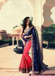Georgette Fabric Ravishing Navy Color Designer Sari With Embroidery Work