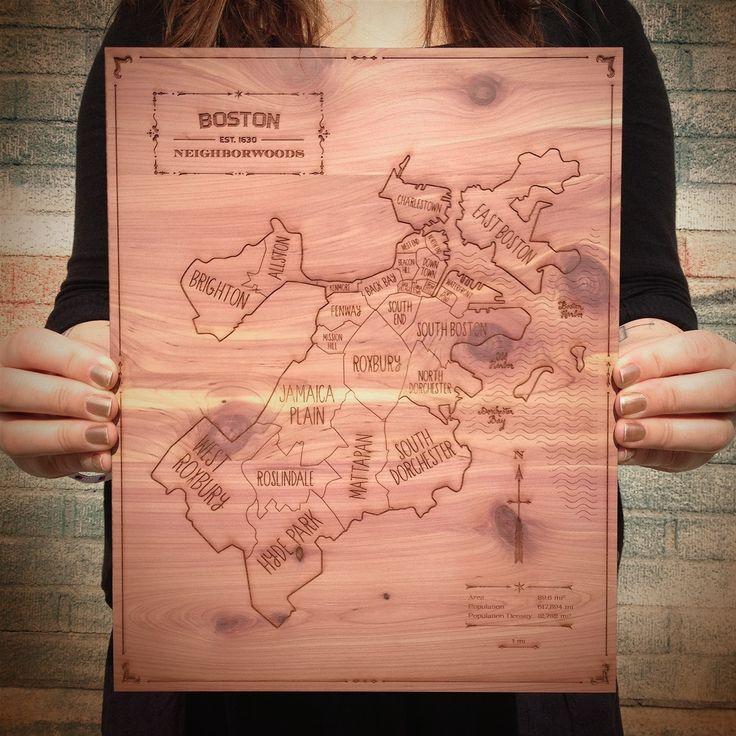 Neighborwoodsu0027 engraved cedar map makes a charming