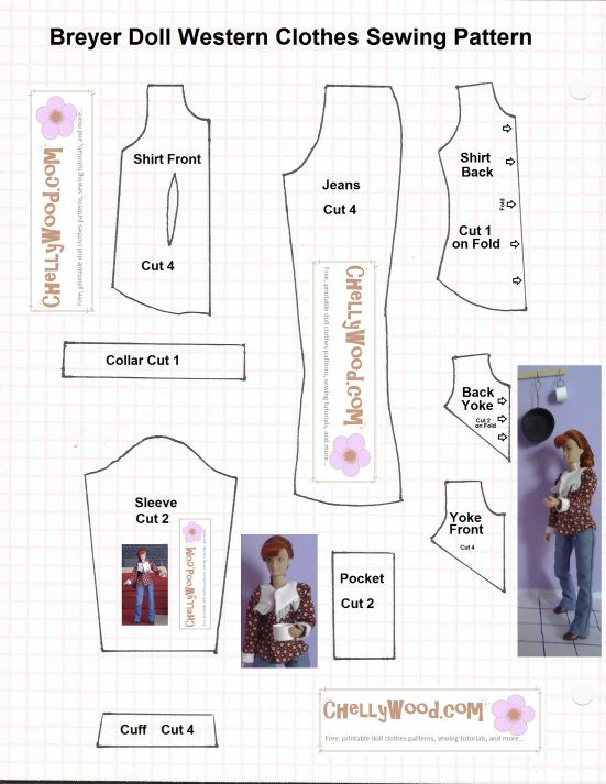 Image of sewing pattern to fit 8-inch dolls like Breyer dolls, World of Love dolls, dollhouse dolls, etc...