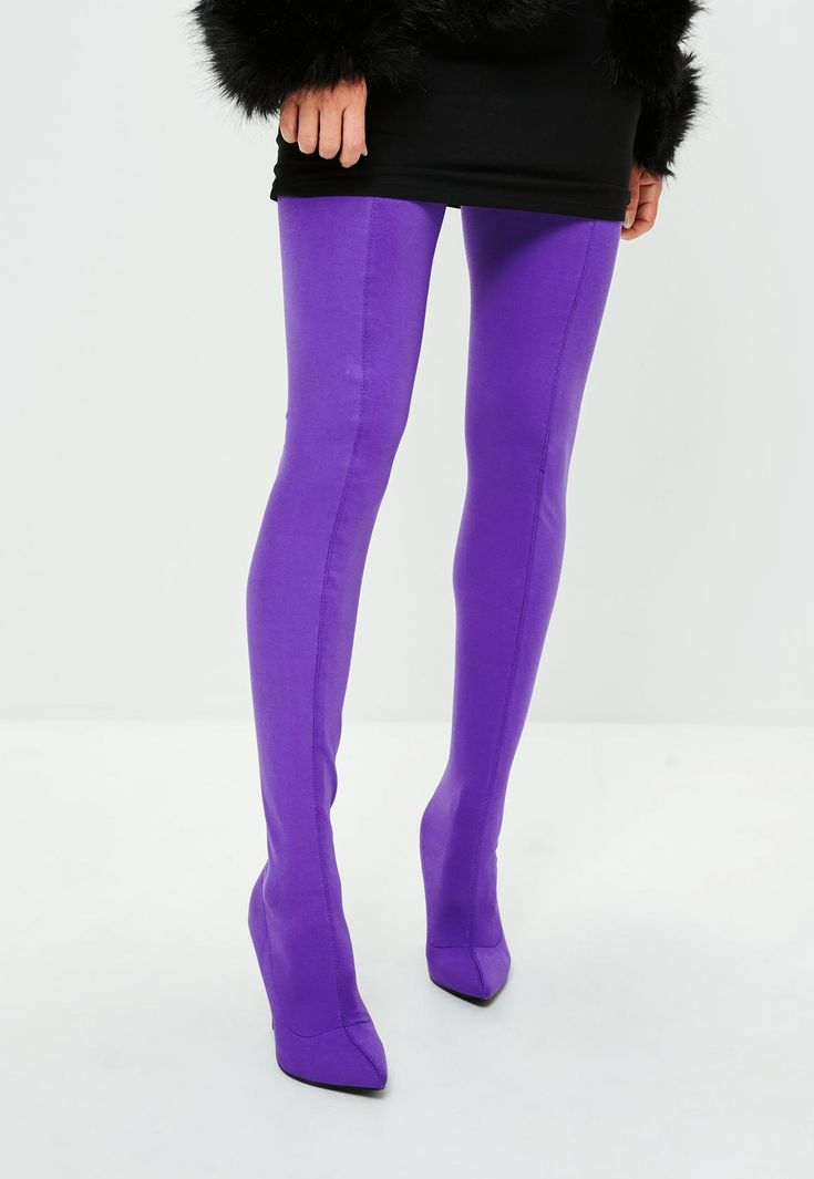 Purple Thigh High Boots Kylie Jenner