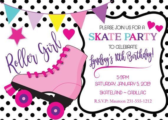Roller Skate Disco Party Invitation Digital File Printable PDF and JPEG