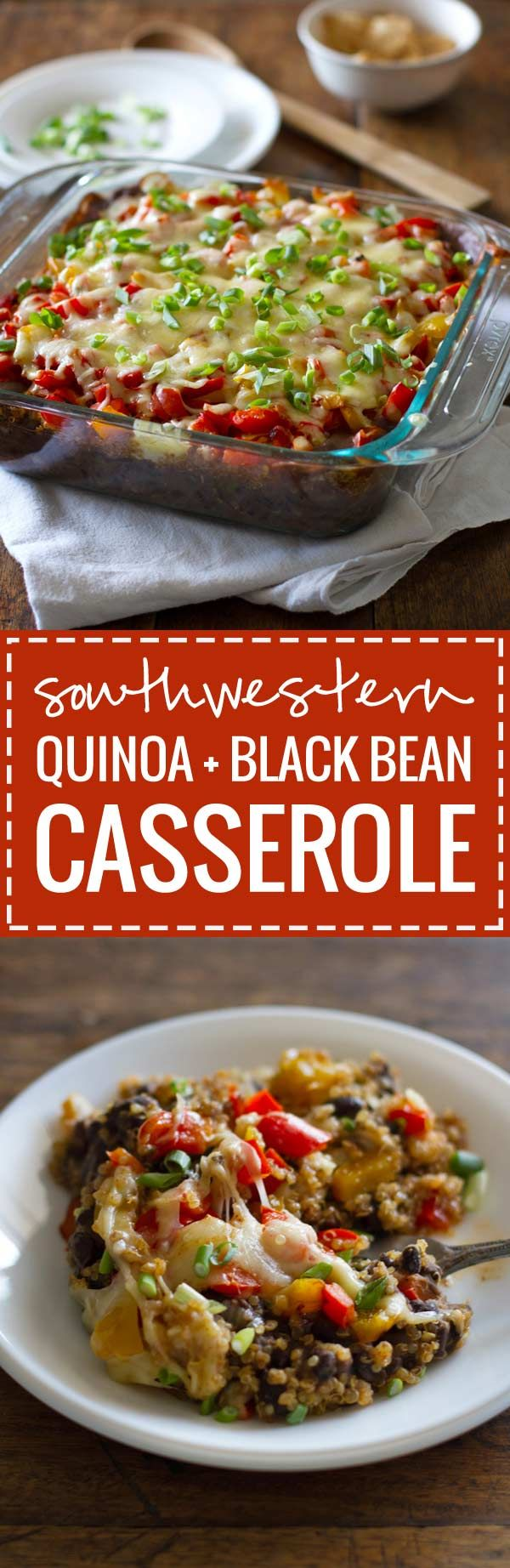 This Southwestern quinoa and black bean casserole is a delicious and healthy way to enjoy Mexican comfort food! Just 240 calories per serving.